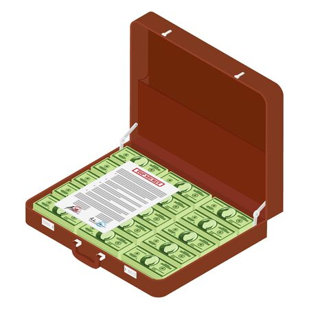 Brown briefcase with top secret documents and million dollars isometric view