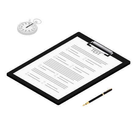 Test, exam paper on clipboard, stopwatch and pen isometric view. Exam, or survey concept icon. School test. School exam.