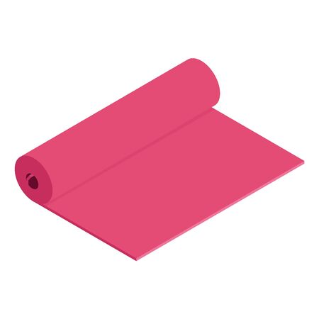 Pink yoga mat isolated on white background. Practicing yoga 写真素材