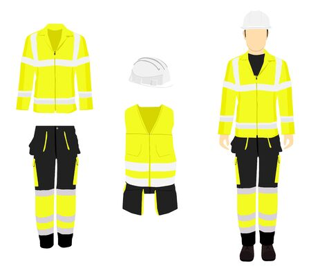 Man worker in uniform. Professional protective clothes and safety helmet. Mans figure.