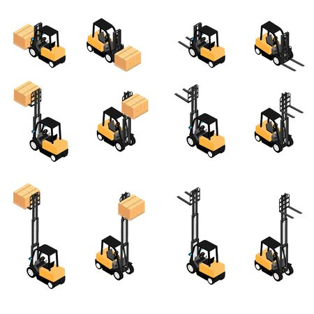 Forklifts, reliable heavy loaders, trucks transporting cargo cardboard boxes. Heavy duty equipment isolated on white background isometric view Stock Photo