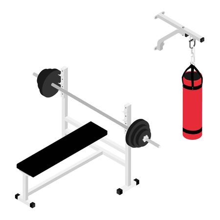 Gym bench with barbell and boxing bag isolated on white background isometric view.