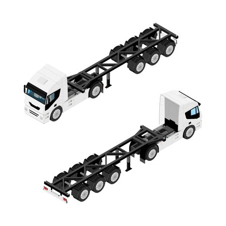 Heavy transport semi truck without container isometric view isolated on white background
