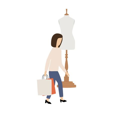 Woman with shopping bags. Big sale, Discount and Advertising Banner, promo Poster Concept
