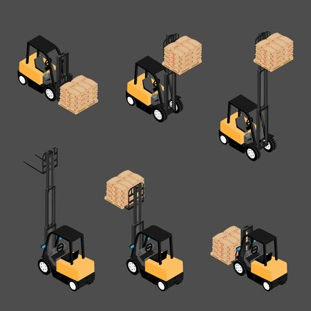 Forklifts, reliable heavy loader, truck transporting cargo cement bags on wooden pallet. Heavy duty equipment isometric view