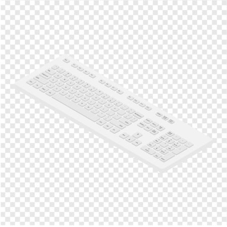Isometric view white pc keyboard. Personal computer tool to write words Reklamní fotografie