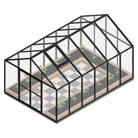 Greenhouse at an organic farm. Illustration