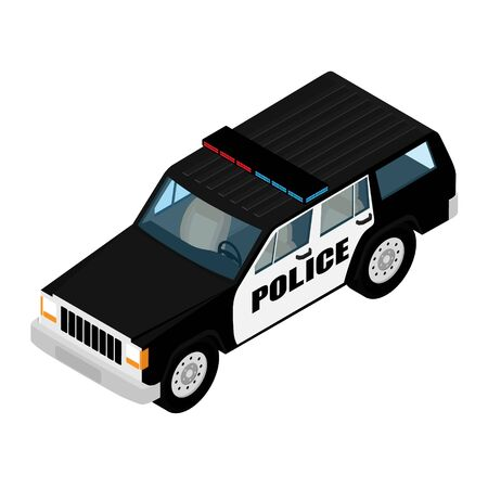 Police car isometric view isolated on white