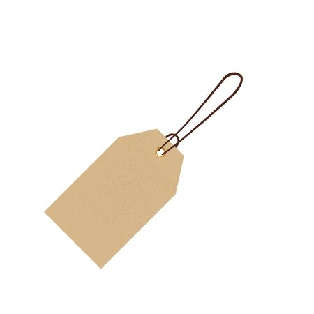 Blank gift box tag or sale shopping label with rope.