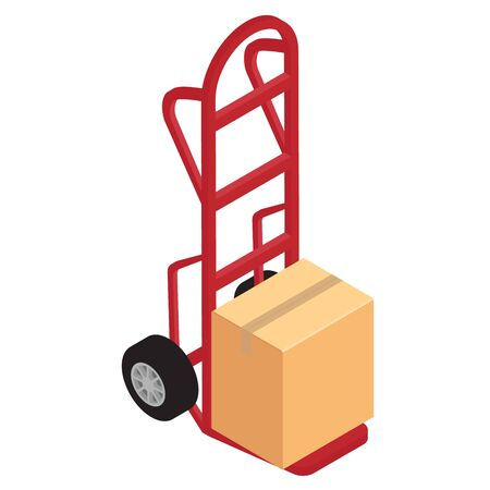 Hand truck with brown cardboard boxes isolated on white background isometric view. Package delivery