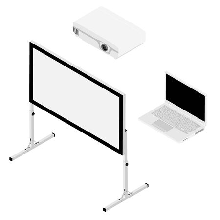 Laptop computer, projector and screen isometric view. Realistic video projector, white empty screen and laptop computer