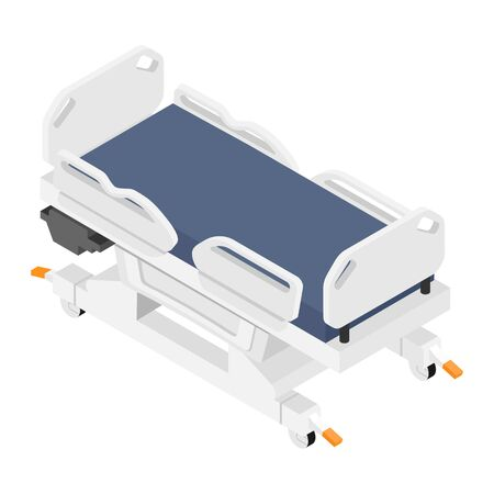 Mobile hospital medical bed isometric view isolated on white background.