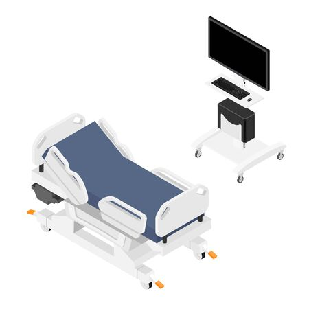 Mobile hospital bed and monitor, computer medical equipment isometric view isolated on white background. Illustration