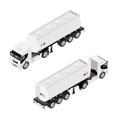 Gasoline tanker or Oil trailer truck isometric view isolated on white Illustration