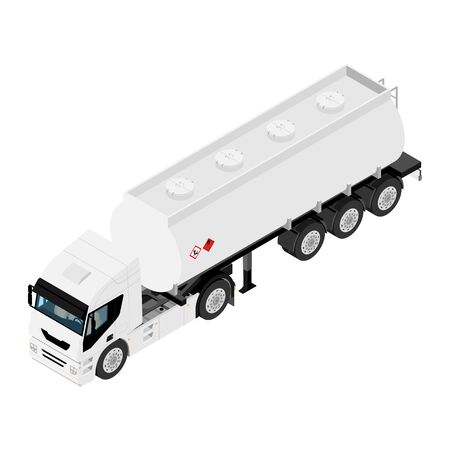 Gasoline tanker or Oil trailer truck isometric view isolated on white Illustration