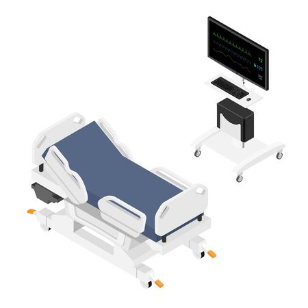 Mobile hospital medical bed and vital signs monitor for patient isometric view isolated on white background.