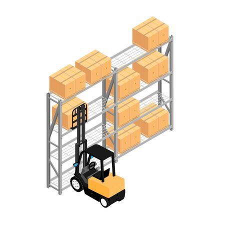Warehouse interior with shelves, pallets, forklift and boxes.