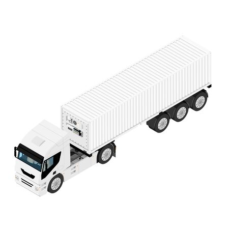 Refrigerated cargo truck hauling goods. Truck with refrigerated container isolated on white background isometric view.
