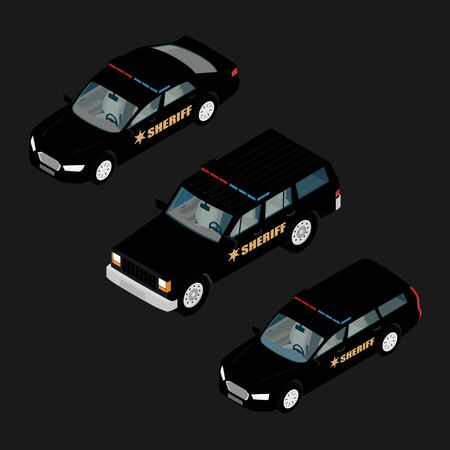 Police car set isometric view isolated
