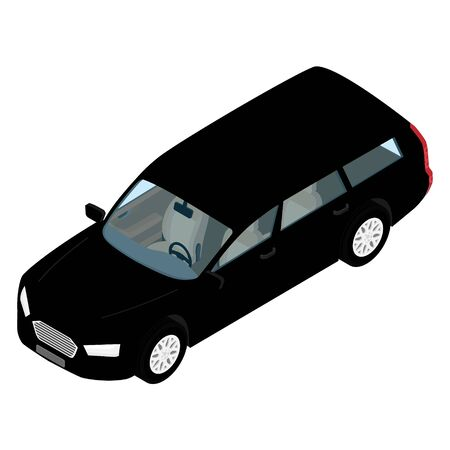 Black hi-detailed passenger station wagon car isometric view isolated on white Banque d'images - 133211785