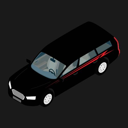 Isometric high quality city transport car icon black passenger station wagon car. Banque d'images - 133211782