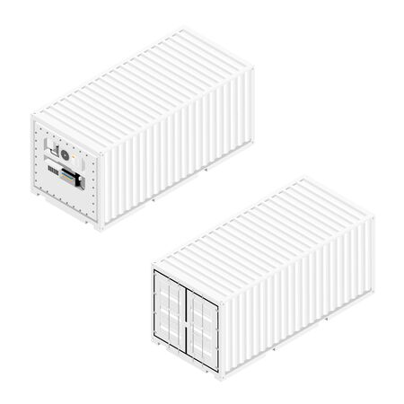 Refrigerated containers back and front isometric view isolated on white