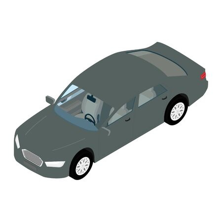 Isometric high quality city transport car icon grey sedan. Banque d'images - 133211798