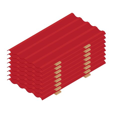 Stack of red roof tiles profile isometric view isolated on white background.