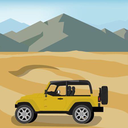 Yellow safari travel car in desert. Banque d'images - 133211793