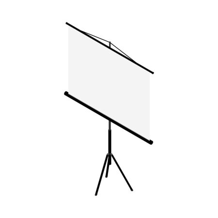Blank white realistic projector screen. Projector screen isometric view