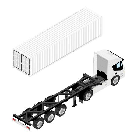 Semi trailer truck and cargo container isometric view isolated on white background. Cargo transportation