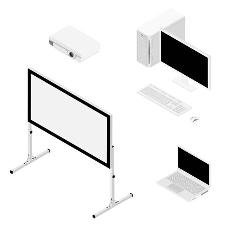 Laptop computer, projector and screen isometric view. Stockfoto