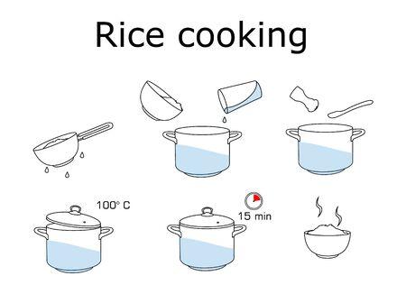 Cómo cocinar arroz con pocos ingredientes receta fácil. Foto de archivo