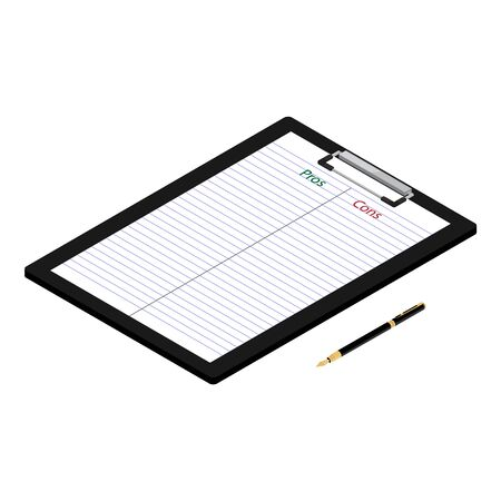 Pros cons concept. Pros Cons list paper on clipboard with pen. Isometric view Reklamní fotografie