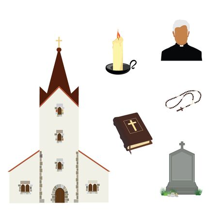 Prayer priest pastor or preacher . Holy Bible and rosary beads with cross. Gravestone and church building. Religion symbols
