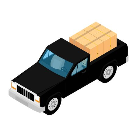 Black pickup truck deliver cardboard boxes isolated on white background isometric view