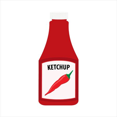Ketchup bottle isolated on white background. Tomato chili pepper ketchup sauce