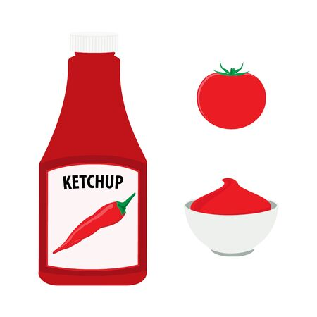 Tomato ketchup with hot chili pepper bottle, whole red tomato and bowl with tomato sauce.