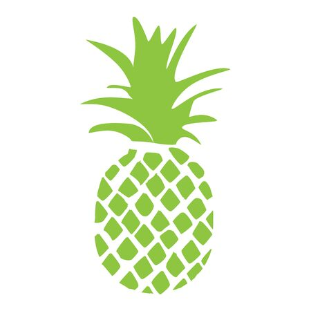 Pineapple tropical fruit silhouette isolated on white background. Reklamní fotografie