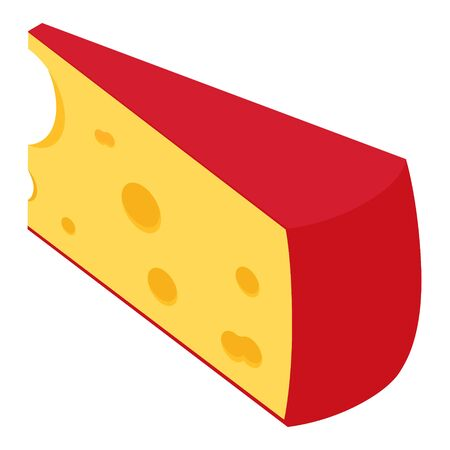 Piece of cheese isolated on white background isometric view 免版税图像