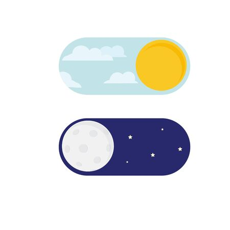 raster illustration of day and night. Day night concept, sun and moon, day night icon. User Interface element - On Off switcher