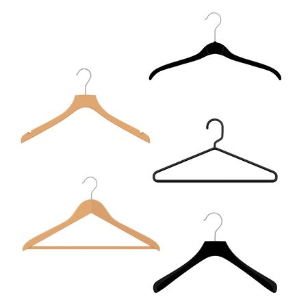 Wooden, plastic and metal wire coat hangers, clothes hanger on a white background