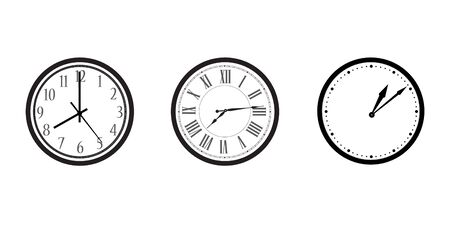 Black and white wall office clock icon set. Clock with arabic, roman numerals and dots Stockfoto