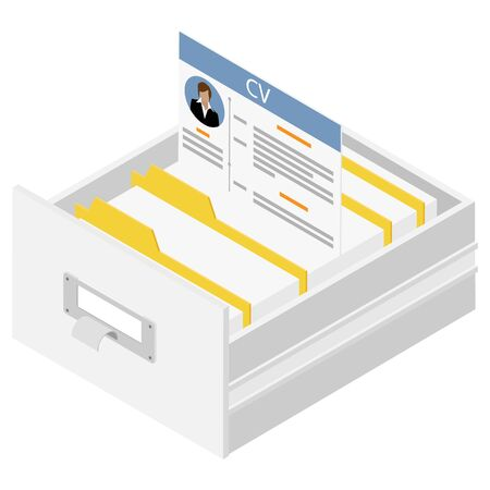 Office files in a filing cabinet drawer, business administration and data storage concept. Hiring recruitment concept