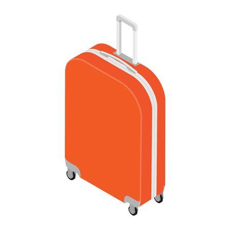 Isometric realistic travel suitcase with wheels isolated on white background