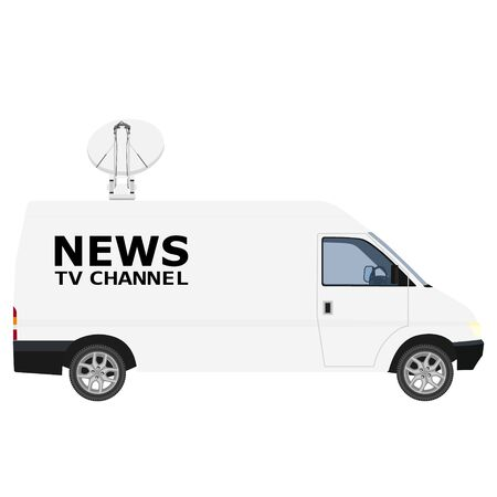 TV News car with equipment on the roof. Van on isolated background. raster illustration