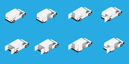 Hi-detailed Cargo Delivery Van raster set isometric view. Mockup Template for Branding and Corporate identity design on transport. Realistic White Cargo Van.