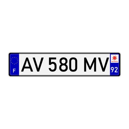 France european union car license plate registration number