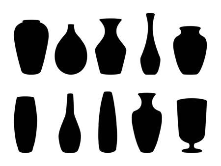 Ceramic vases collection. Black silhouette ceramics vase, antique pottery cups isolated on white vector illustration. Ilustração Vetorial