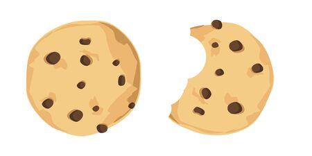 Biscuit aux pépites de chocolat mordu d'illustration vectorielle. Jeu d'icônes de biscuits au chocolat fraîchement cuits au four
